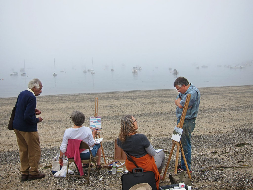 Ashley Bryan (left) and Henry Isaacs (right) provide guidance to two workshop participants on a foggy morning.