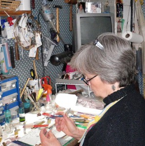 Barb Fernald at work in her studio