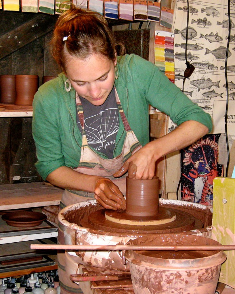 Potter Kaitlyn Duggan, at work on Little Cranberry
