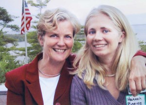 Chellie and daughter Hannah on the campaign trail, 2002.