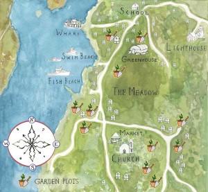 A map of the Monhegan garden plots. (credit: Alexis Iammarino)