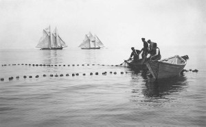 old black and white photo of fishermen spreading their nets off island.