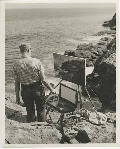 Andrew Winter (1892–1958) at his easel painting a view of Gull Rock.