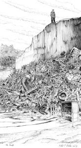 illustration of man standing above a pile of trash