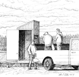 illustration of men standing in the back of a pickup truck