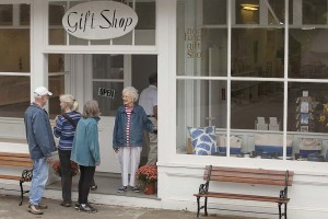 June outside her gift shop on North Haven