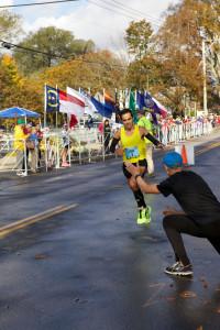 Men's marathon champion Louis Luchini approaches the finish line.