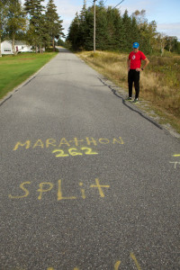 race markings spray painted on a road