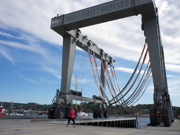 The city's harbor front walkway passes through the shipyard, including near the 450-metric-ton lift.